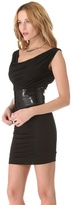 DSquared Dsquared2 Draped Jersey Dress with Patent Belt