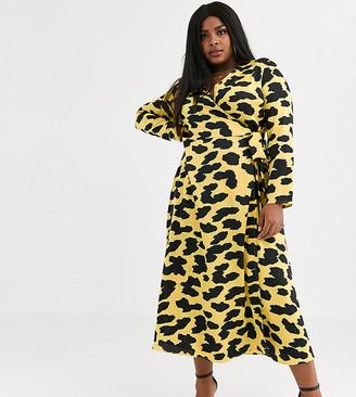 ASOS DESIGN Curve exclusive wrap maxi dress in cow animal print