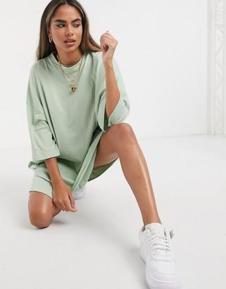 ASOS DESIGN oversized t-shirt dress in sage green