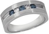 Effy Jewelry Gento Men's Blue and White Diamond Ring, .49 TCW