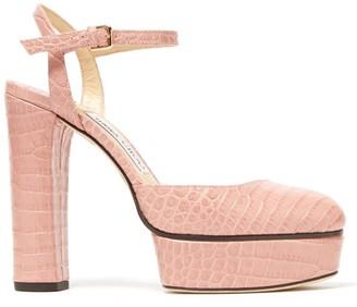 Jimmy Choo Maple 125 Crocodile-effect Platform Sandals - Womens - Light Pink