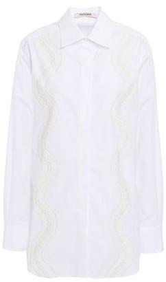 Roberto Cavalli Lace-trimmed Cotton-poplin Shirt