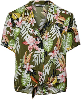 Only Tropical Print Short Blouse with Tie Front