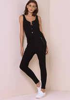 Missy Empire Harriet Black Sleeveless Button Up Ribbed Jumpsuit