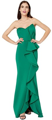 Badgley Mischka 3D Cascade Drape (Green) Women's Dress