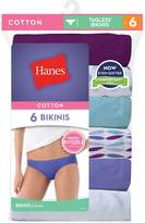 Hanes Women's No Ride Up Cotton Bikini 6-Pack, Assorted, Size