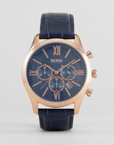 HUGO BOSS Boss By 1513320 Ambassador Chronograph Leather Watch In Navy