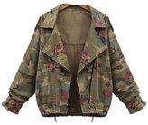 Friendshop Womens Casual Bat Sleeve Zipper Floral Camouflage Fashion Jacket Coat Suit Blazer