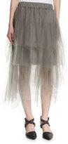 Brunello Cucinelli Tiered Tulle Midi Skirt