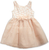 Sweet Heart Rose Lace and Striped Organza Dress, Baby Girls (0-24 months)