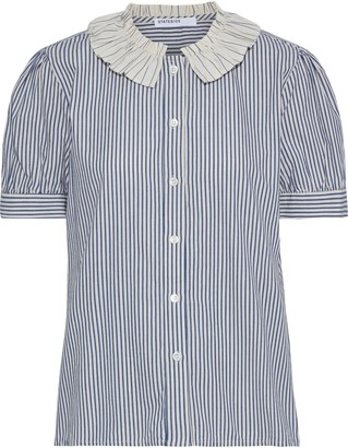Stateside Ruffle-trimmed Striped Cotton-broadcloth Blouse