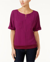 Trina Turk Mellia Zip-Neck Top