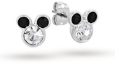Disney White Gold Plated Minnie Mouse Black Crystal Ears Stud Earrings