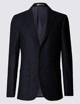 Collezione Wool Blend Tailored Fit Two Tone 2 Button Jacket