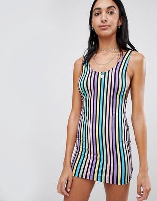 Motel Bodycon Mini Dress In Rainbow Candy Stripe-Multi