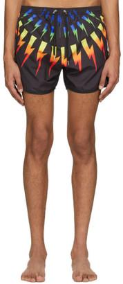 Neil Barrett Black Rainbow Thunderbolt Swimsuit