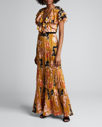 Johanna Ortiz Golden Blossom Floral Crepe de Chine Tiered Pleated Dress