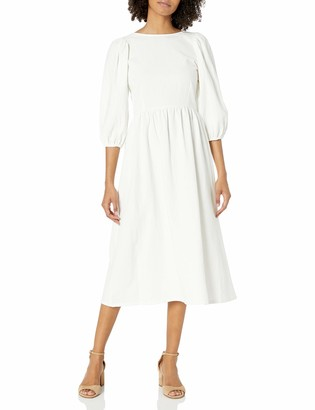 Rachel Pally Women's Midi Dress Waist Seam Puff Sleeve Detail