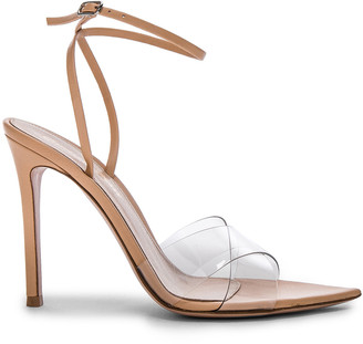 Gianvito Rossi Leather & Plexi Stark Ankle Strap Sandals in Transparent & Nude | FWRD