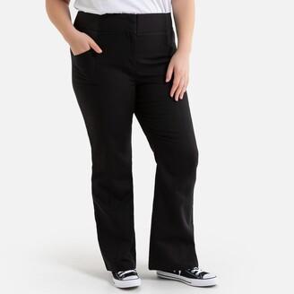 "La Redoute Collections Plus Cotton Bootcut Trousers, Length 30.5"""