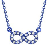 As 29 AS29 Women's 18ct Blue Gold Round White Diamonds Mini Infinity Necklace of Length 38-40cm