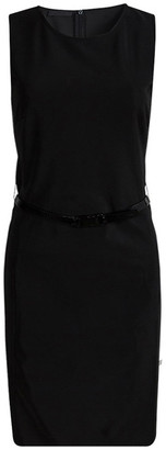 Prada Black Sleeveless Belted Shift Dress S