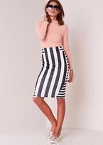 Missy Empire Maya Black And White Striped Midi Skirt