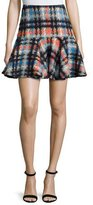 Milly Pied-de-Poule Flounce Mini Skirt, Multi