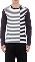 Barneys New York MEN'S MIXED-STRIPE LONG-SLEEVE T-SHIRT-NAVY SIZE M