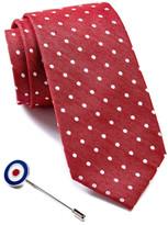 Ben Sherman Dot Tie & Bullseye Lapel Pin Box Set