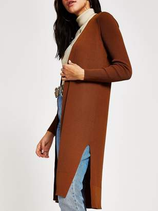 River Island Longline Ribbed Cardigan - Camel