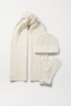 Johnstons of Elgin Cashmere Hat, Scarf And Gloves Set - Cream