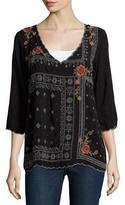 Johnny Was Bennett Embroidered 3/4-Sleeve Blouse, Black, Petite