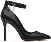 Reiss Newlyn Chain Detail Textured Ankle Strap Pumps