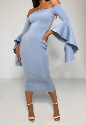 Missguided Blue Scuba Bardot Ruffle Midi Dress