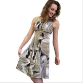 London Times T1269M Sleeveless Palm Print Piped Dress