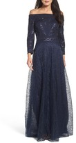 Tadashi Shoji Women's Sequin Embroidered Tulle Off The Shoulder Gown