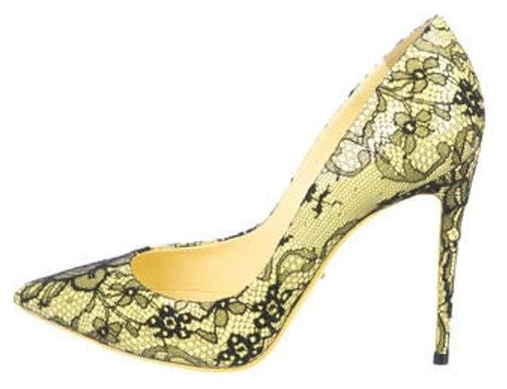31a85242e07 Lace-Trimmed Pointed-Toe Pumps w/ Tags Yellow Lace-Trimmed Pointed-Toe  Pumps w/ Tags