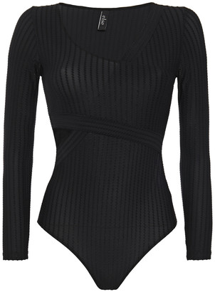 ELSE Ziggy Cutout Embroidered Stretch-jersey Bodysuit