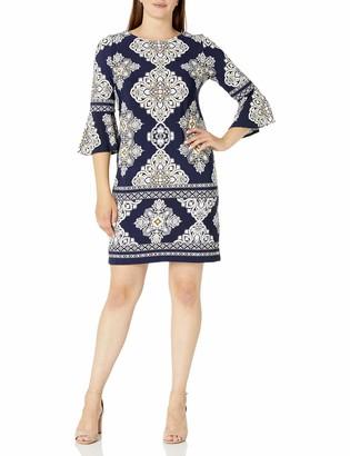 Sandra Darren Women's 1 PC 3/4 Sleeve Printed Scoop Neck ITY Shift Dress