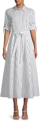 Calvin Klein Belted Stripe Cotton Shirtdress