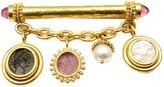 Elizabeth Locke 18k Yellow Gold Intaglio Tourmaline Charm Pin Brooch