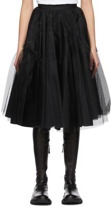 Alexander McQueen Black Tulle Knee-Length Skirt