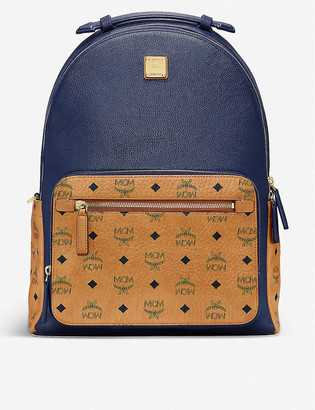 MCM Stark brand-print medium coated-canvas backpack