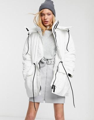 Weekday Zimbra padded jacket in white