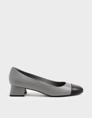 Charles & Keith Two-Tone Round Toe Curved Block Heel Pumps