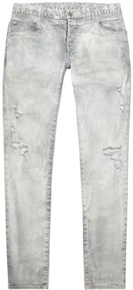 Balmain Pale Grey Distressed Slim-leg Jeans