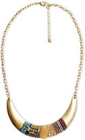 Lydell Necklace, 10k Gold Plated Beaded Plate Statement Necklace