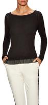 Halston Boatneck Chiffon Panel Sweater