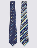 M&S Collection 2 Pack Striped & Spotted Tie